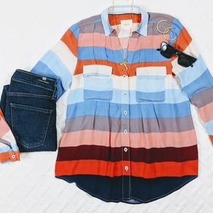 Anthropologie Maeve Colorful Striped Blouse